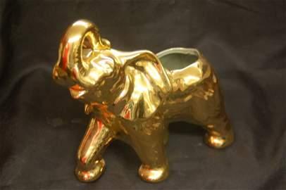 GOLD DECORATED CERAMIC ELEPHANT VASE