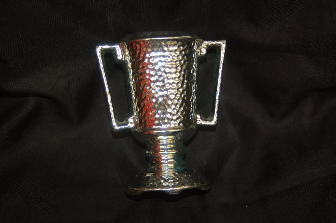 SILVER DECORATED POTTERY VASE