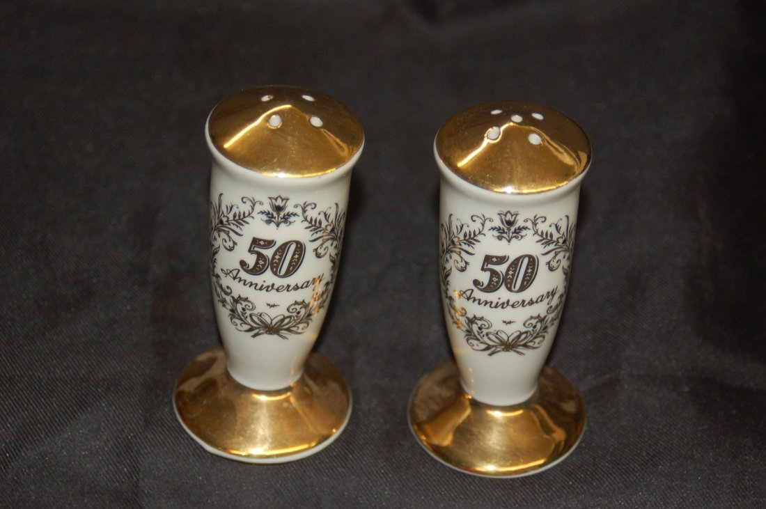 GOLD DECORATED CERAMIC SALT AN PEPPER 50TH ANNIVERSARY
