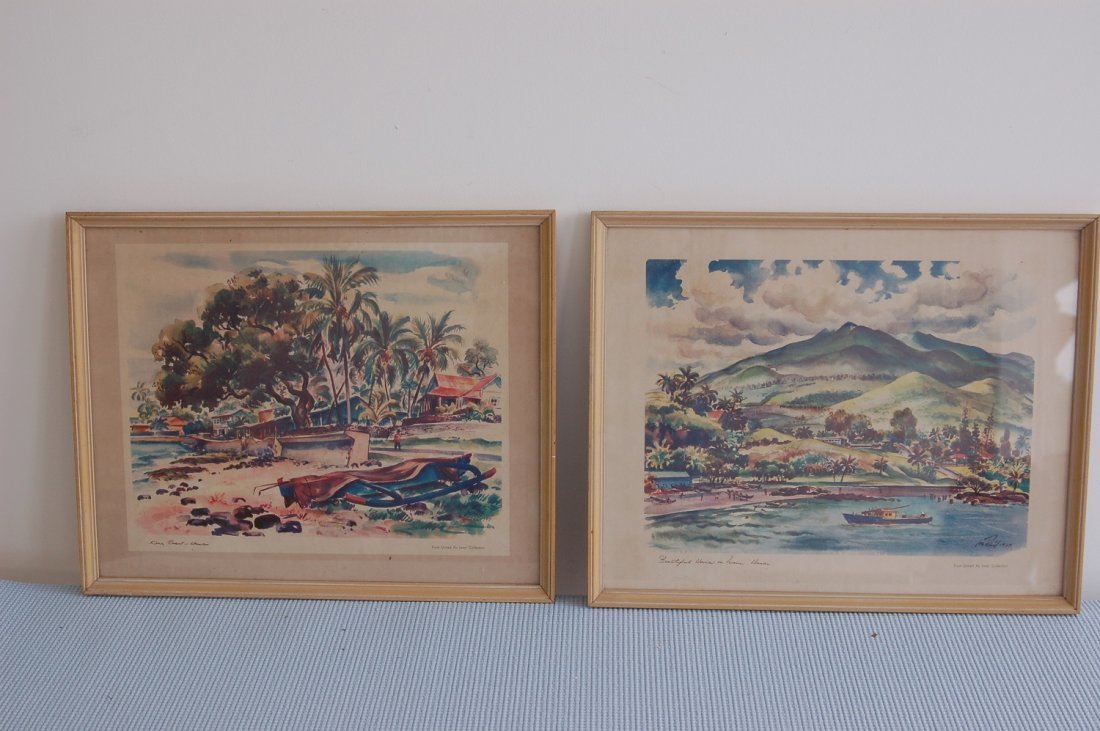 PAIR OF UNITED AIRLINES VINTAGE TRAVEL ART PIECES