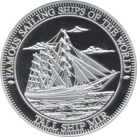 A collectible silver coin, Tallship Mir