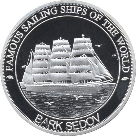 A collectible silver coin. Bark Sedov