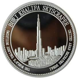 Collectible silver coin. Burj Khalifa