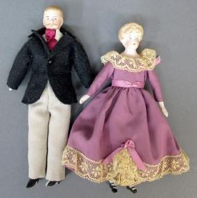 2 Bisque Dollhouse Dolls