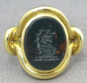 Carved Bloodstone 18k Ring