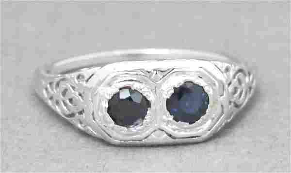 Art Deco 18 K White Gold Sapphire Ring
