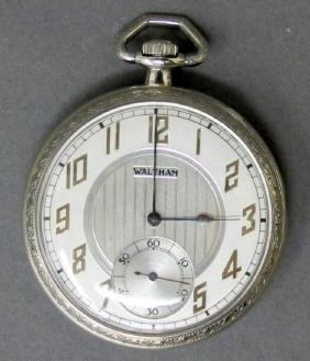 18k White Gold Gent's Waltham Pocket Watch