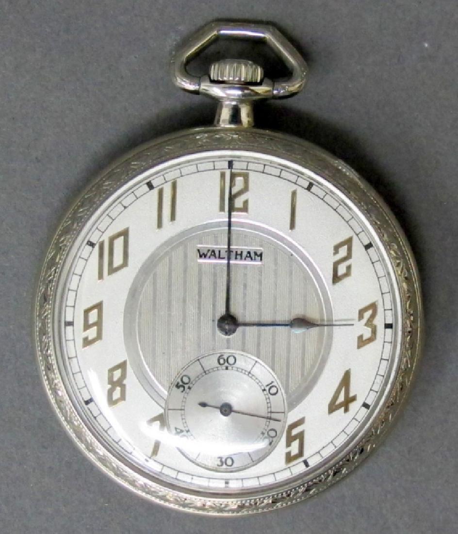 18K White Gold Gent's Waltham Pocket Watch
