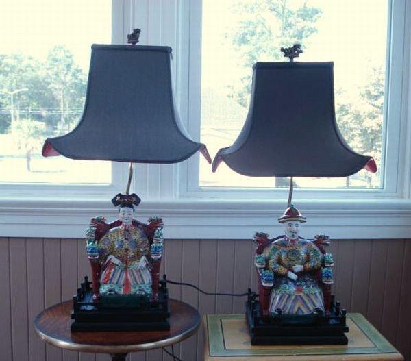 1: Pair of Porcelain Lamps