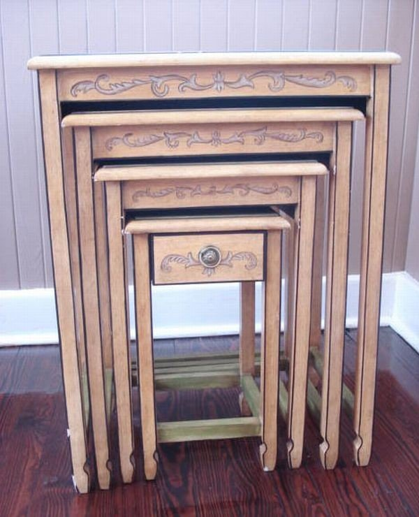 Set of 4 Hand-Painted Nesting Tables