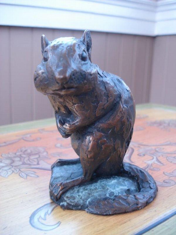 6: Bronze Chipmunk Sculpture by Roger Smith