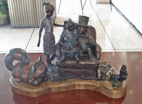 Bronze Alice in Wonderland Sculpture