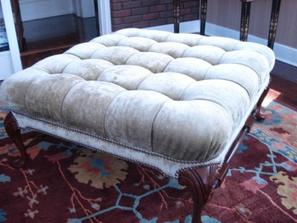 14: Upholstered Tufted Ottoman