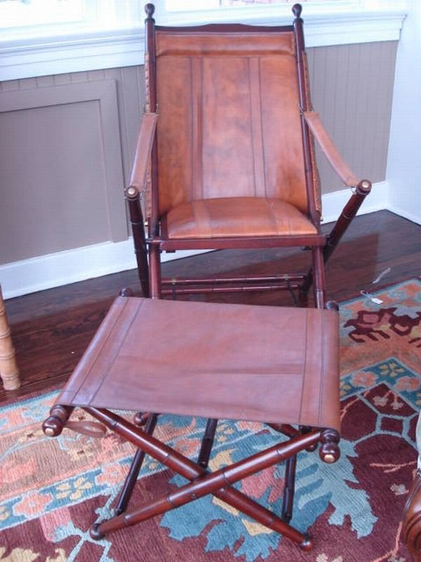 Leather Chair with Matching Ottoman by Palecek of San F