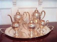 149: Five-Pc Sterling Tea Service with Silverplate Tray