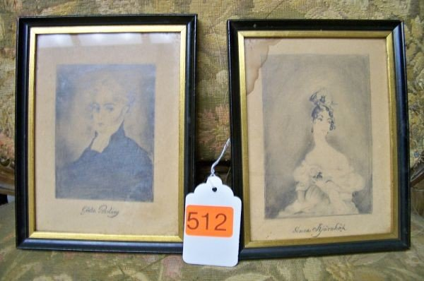 512: 2 SMALL FRAMED PORTRAITS OF ENGLISH LADIES