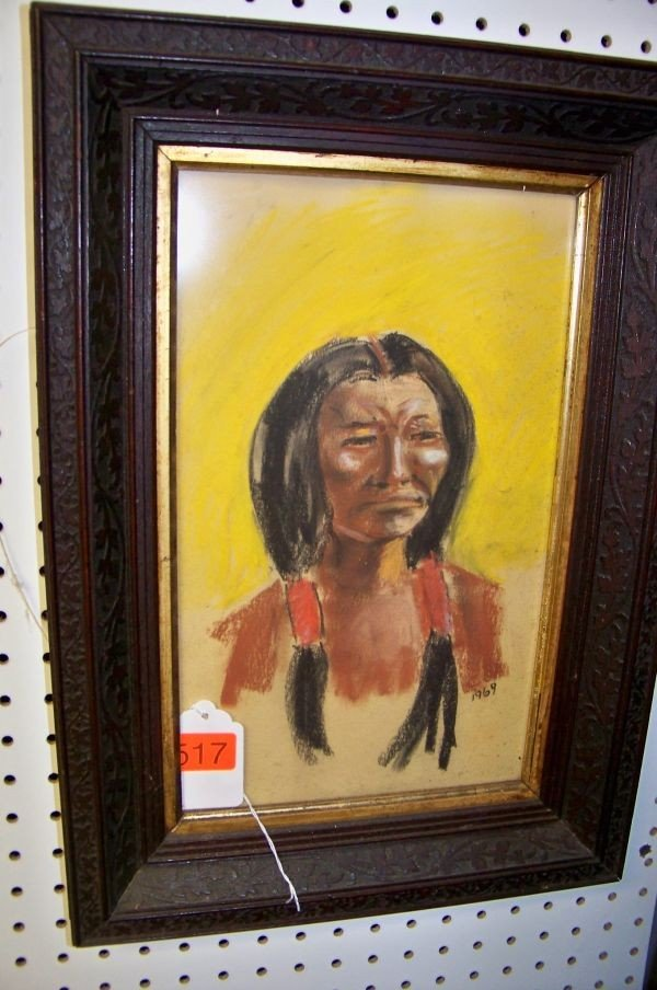 517: 2 FRAMED WATER COLOR PAINTINGS: ONE OF INDIAN