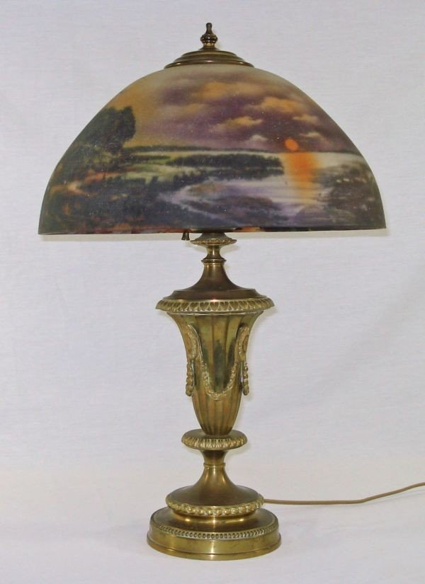 15: Reverse Painted Shade Lamp