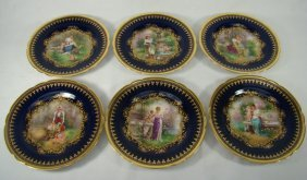 12 Handpainted And Signed Dresden Cobalt Plates