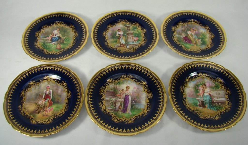 1008: 12 Handpainted and Signed Dresden Cobalt Plates