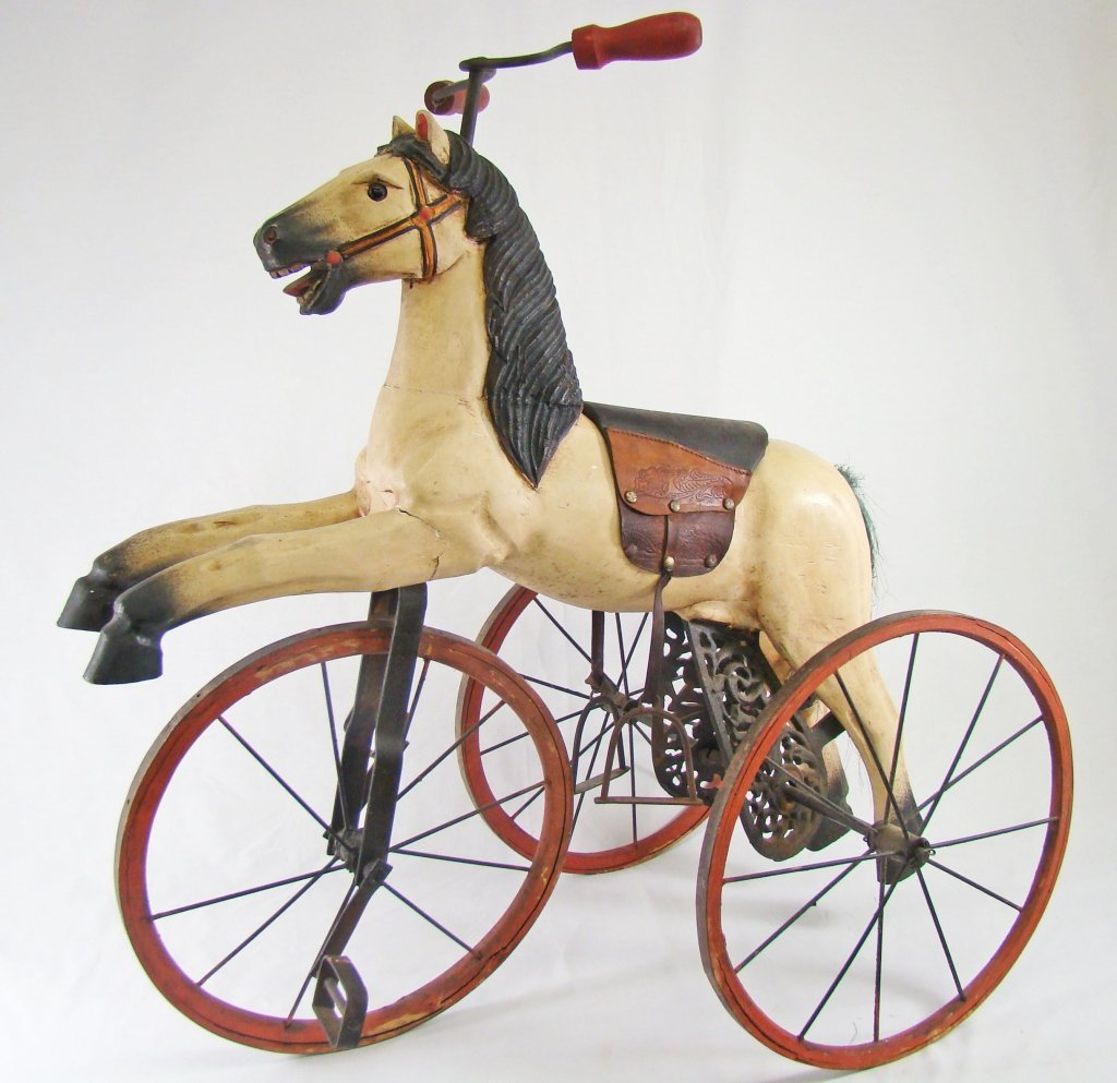 1010: Late 19th C Wooden Horse Form Tricycle