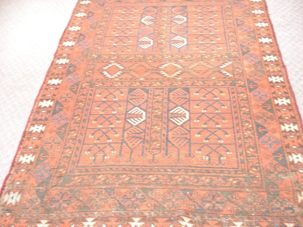 1013: Semi-antique Rug with Rust, Browns, Blues, Greens