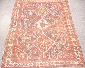 Semi-antique Rug With Rusts, Blues, Greens