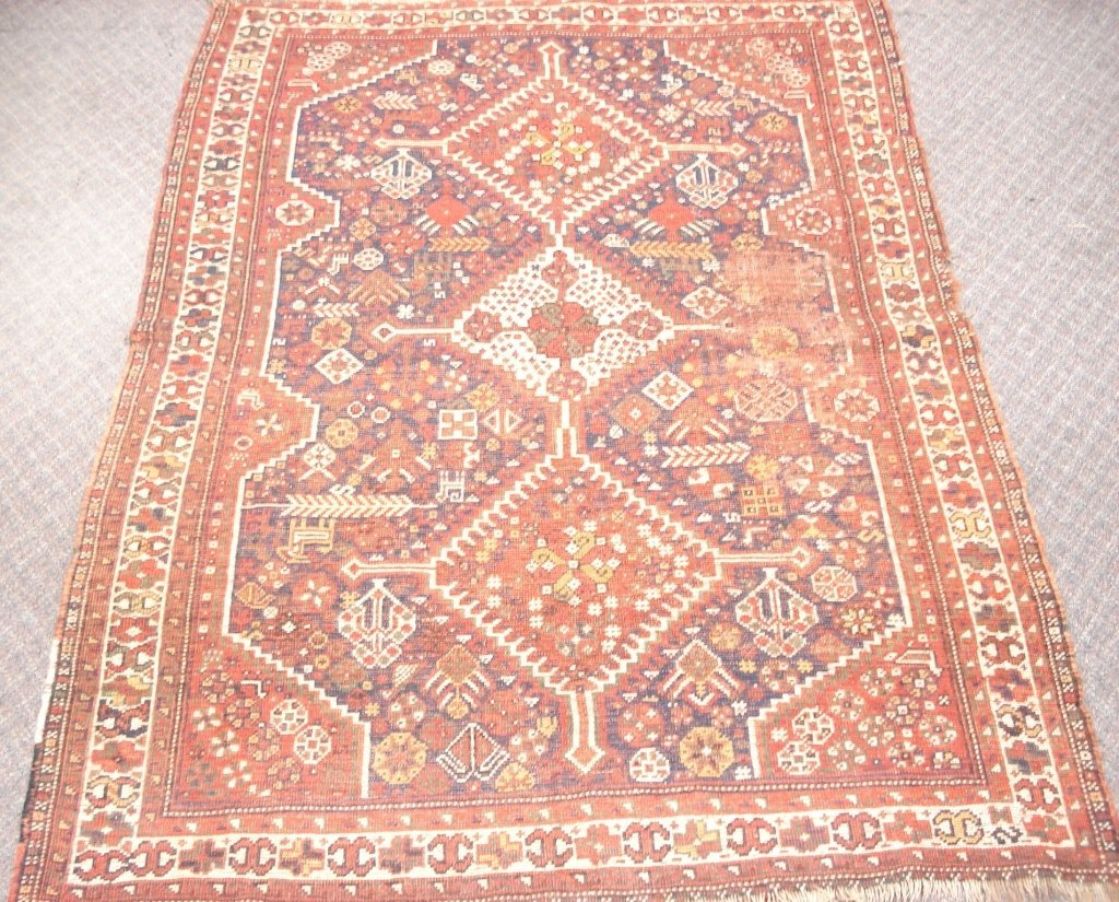 1014: Semi-antique Rug with Rusts, Blues, Greens