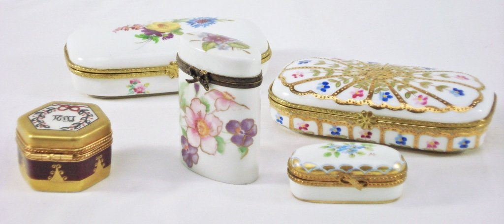 1017: 5 Limoges Dresser Boxes