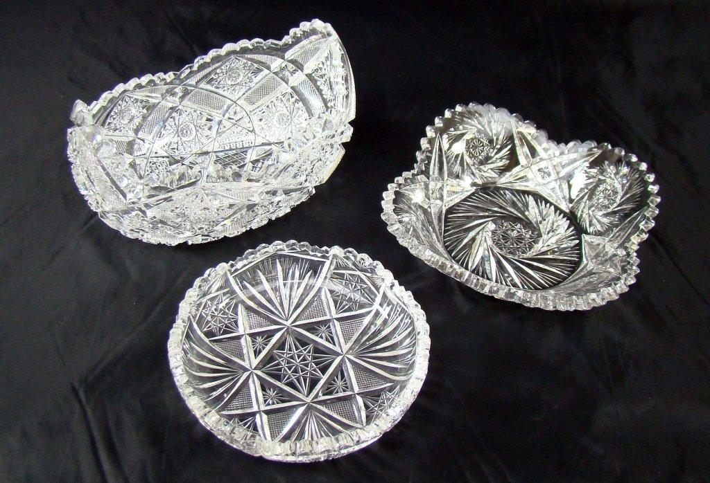 1018: 3 Cut Glass Bowls
