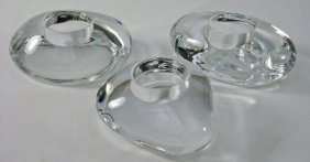 "Orrefors Three ""Lightstones"" Votive Candle Holder"