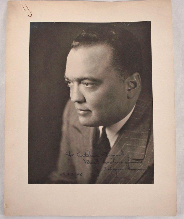 1037: Autographed 9x11.5 J. Edgar Hoover