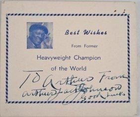 Autographed Card Arthur Jack Johnson