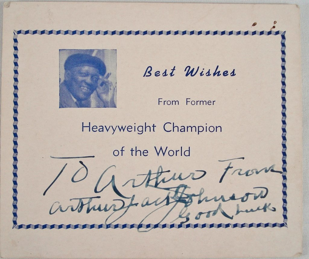 1044: Autographed Card Arthur Jack Johnson