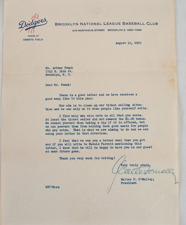 1052: Signed Letter from Walter F. O'Malley