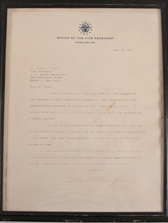 1053: Letter dated June 10, 1965 from Hubert H. Humphre