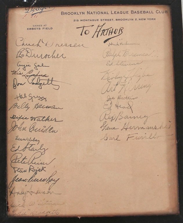 1054: Autographs of 1946 Brooklyn Dodgers Baseball Team