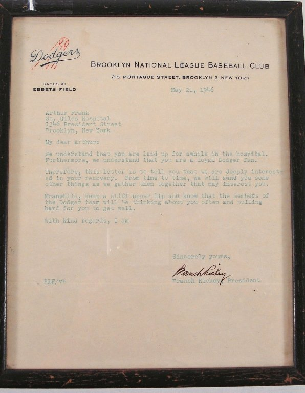 1055: Signed Letter from Branch Rickey, Brooklyn Dodger