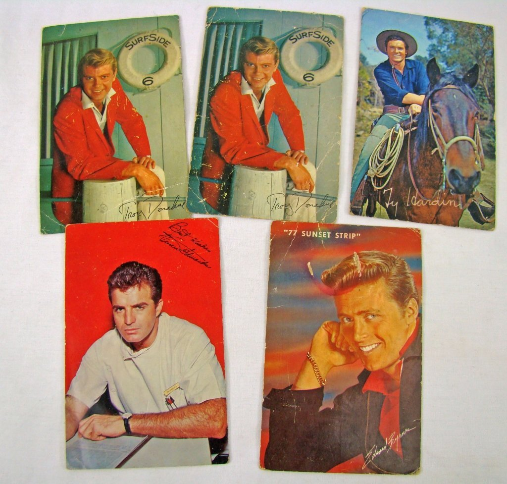 1058: 5 Assorted Postcards Signed by Movie Stars