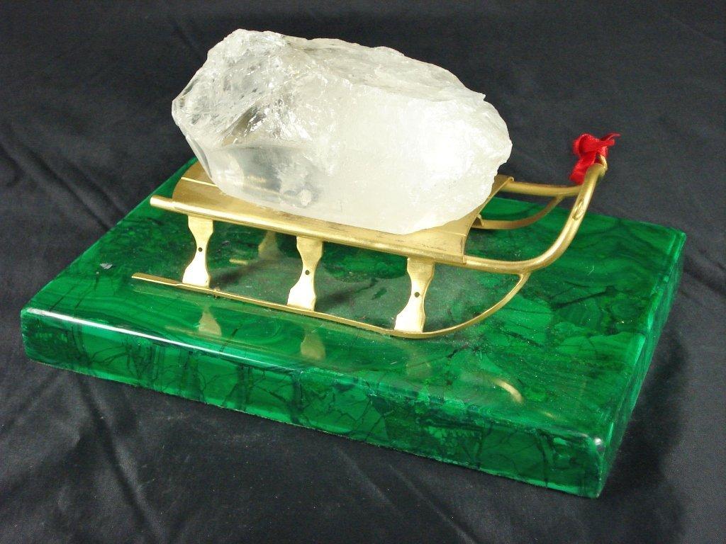 1067: Malachite Base with Large Quartz Crystal on Sleig