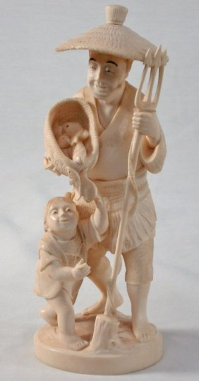 Chinese Carved Ivory Fisherman And Boy