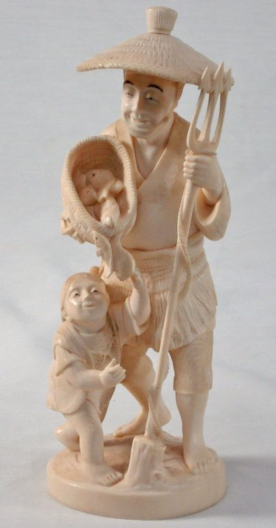 1074: Chinese Carved Ivory Fisherman and Boy