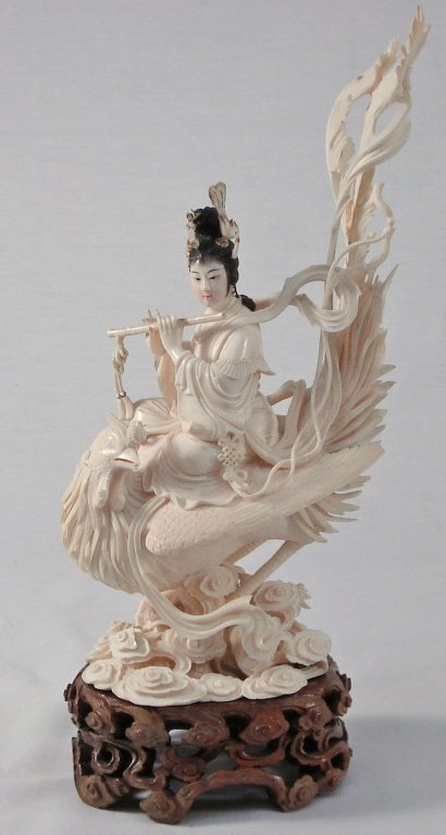 1075: Chinese Carved Ivory Woman on Phoenix