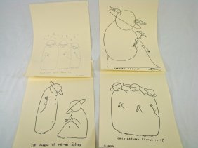 1 Pen And Ink And 3 Signed Prints G. Corso