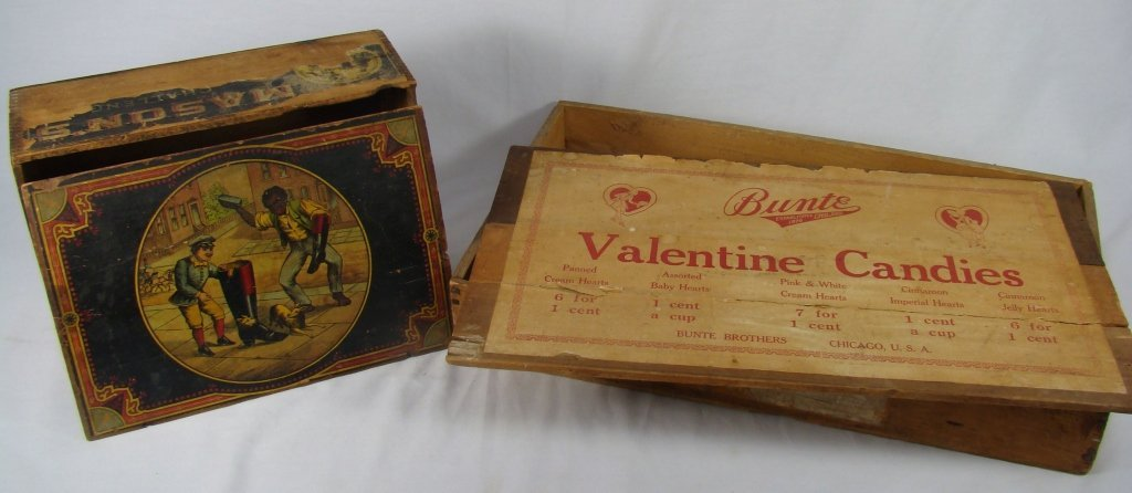1083: 2 Antique Wooden Boxes