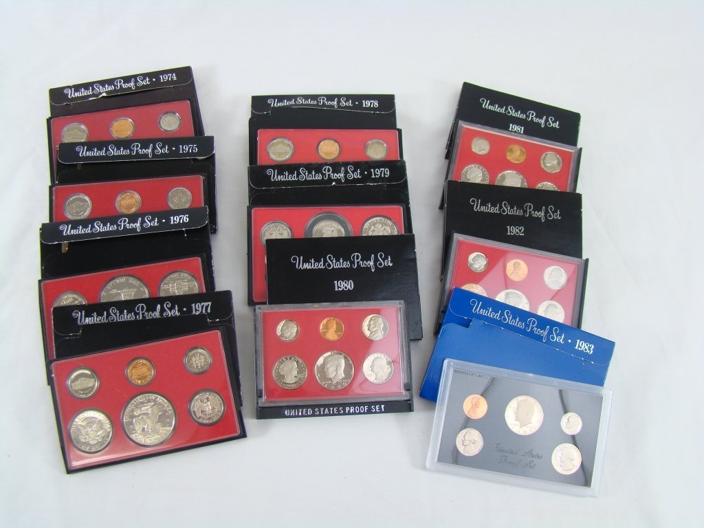1085: 10 Proof Sets 1974 - 1983