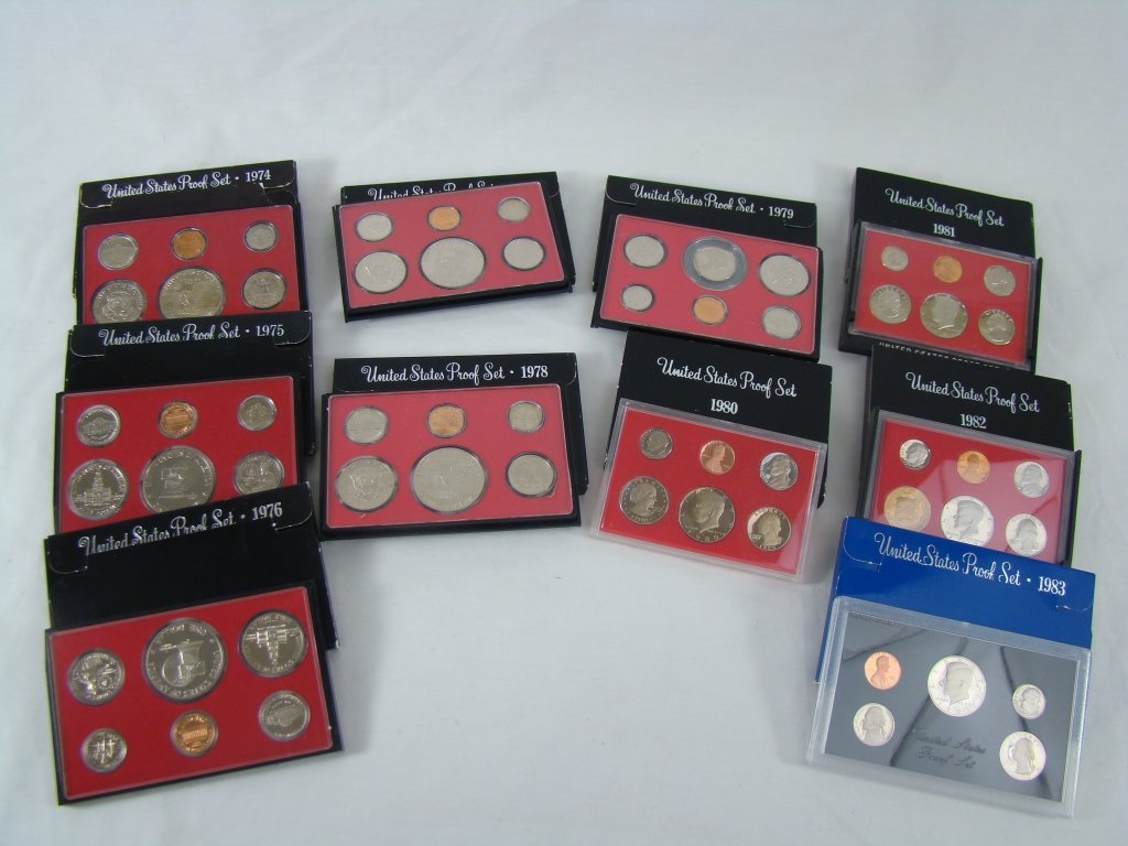 1086: 10 Proof Sets 1974 - 1983