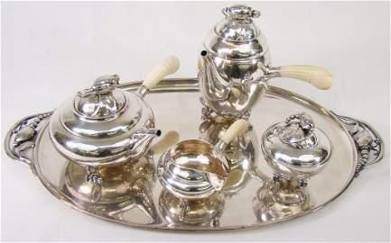 "1166: 5-Pc Georg Jensen Sterling Tea Service ""Blossom"""
