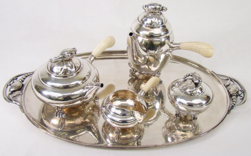 "1166: 5-Pc Georg Jensen Sterling Tea Service ""Blossom"""