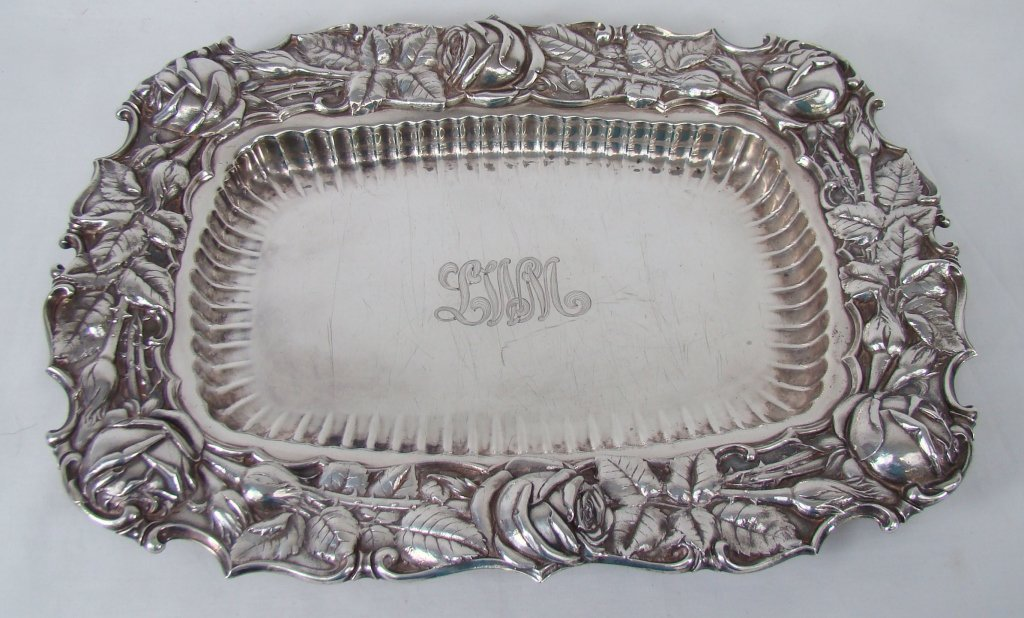 1188: Sterling Silver Platter with Floral Repousse Edge